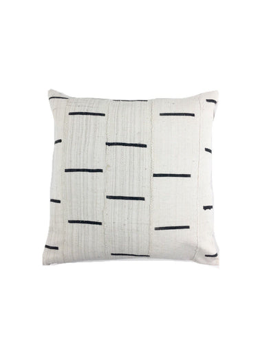 Premium quality & construction Mud Cloth Pillow with Black Dash Pattern, Linen Back