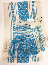 Boho Fringed Textile. Mexican table runner, Hand-Loomed, Turquoise/ivory Or Red/Ivory, Boho / Tribal Decor, Turquoise