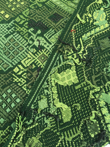 Green Guatemalan vintage fabric, Guatemalan Huipil, Collectible Bohemian Blouse, Wall decor
