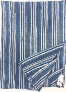 Blue and white Mud Cloth Indigo Stripe, African, Clean and faded vintage textile