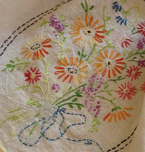 Vintage Floral Bouquet Embroidered Table Linen