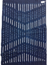 Blue and White Shibori African Textile, Vintage Indigo, Mud Cloth throw or Bed cover
