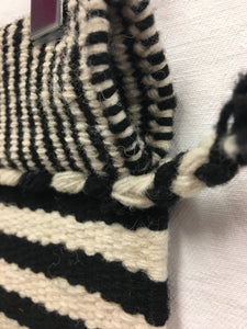 Black and white wool Peruvian textile, Tribal pattern wall hanging, black and white table runner, Hand loomed wool textile