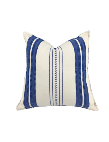 Mexican pillow cover, Blue Striped, Bohemian, Global Style Home Decor, All Cotton