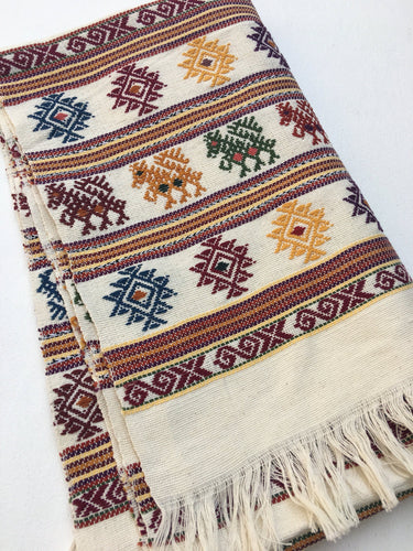 Boho Style Mexican Textile-Throw, Tribal Design, Hand-Loomed, Fringe Detail, Boho Table Runner, Global style home decor fabric