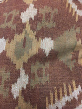 Brown/earth tone Ikat Cotton Fabric, Upholstery weight material
