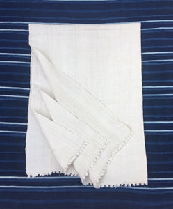 Ivory Mud Cloth, Large Cotton African Textile, One of a Kind with fringe