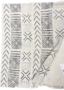 Authentic Mud Cloth, Snowflake Print, White with Black