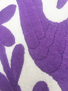 Otomi Embroidered Textile. Light Violet embroidery Otomi, Casual Style, Hand-embroidery on Ivory Cotton
