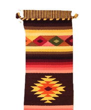 Peruvian wool textile, Earth tone Tribal pattern wall hanging, Colorful table runner, Hand loomed wool textile