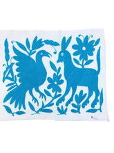 Bright blue Otomi Mexican Embroidered Textile. Hand made, Casual Style, Pillow Fabric