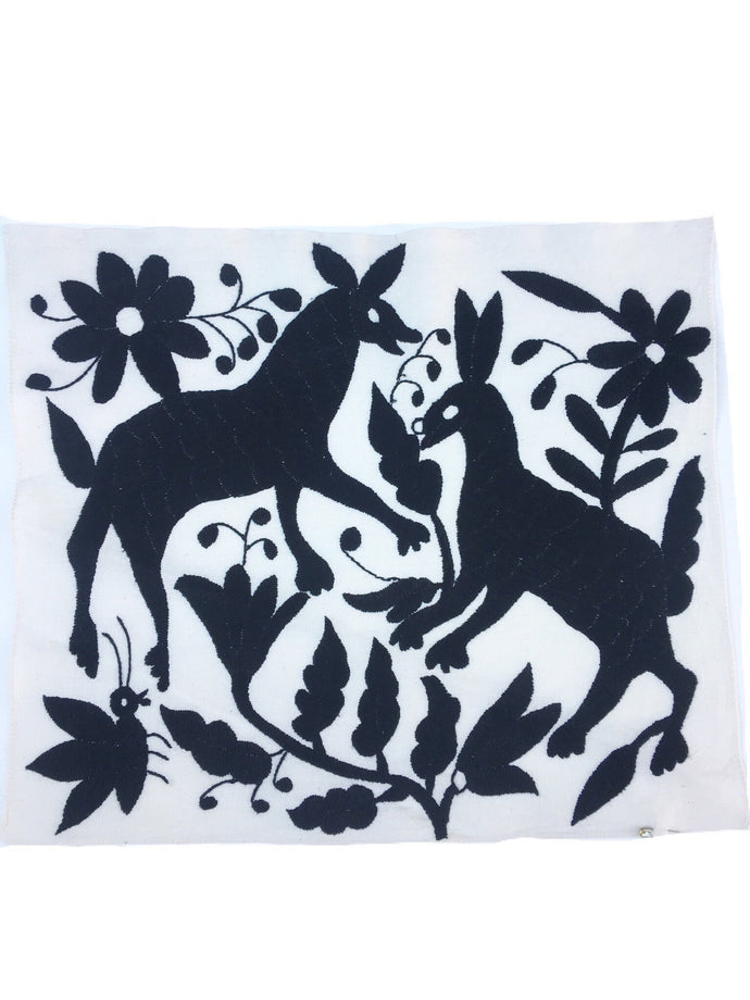 Black embroidery Otomi, Casual Style, Hand-embroidery on Ivory Cotton