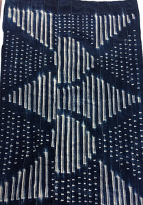 Indigo Blue and white Antique African mud cloth, Vintage textile