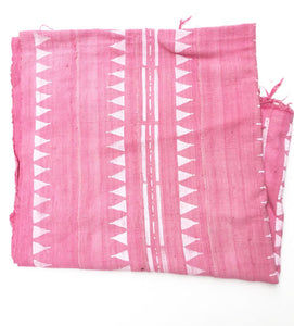Mud Cloth, Medium Pink and White print, Tibal Print, Authentic Hand crafted Textile from Mali