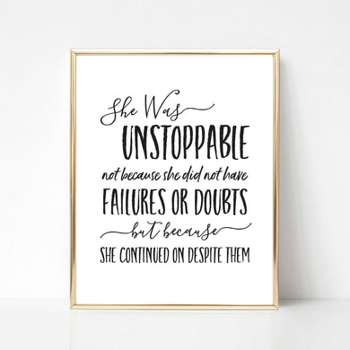 She Was Unstoppable - DIGITAL PRINT