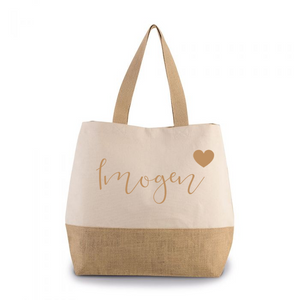 Personalised Natural Canvas contrast Jute Shopper