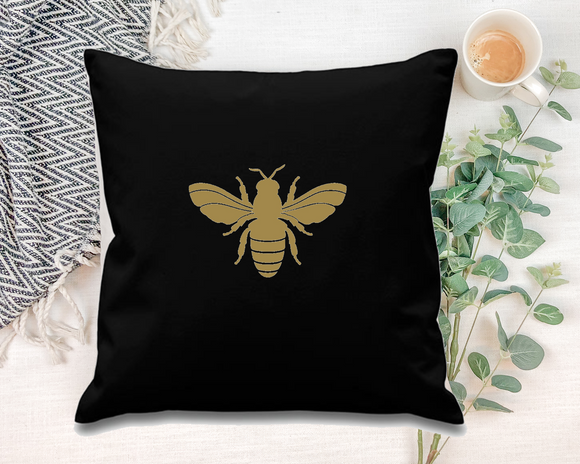 Bee. Black Square Cushion