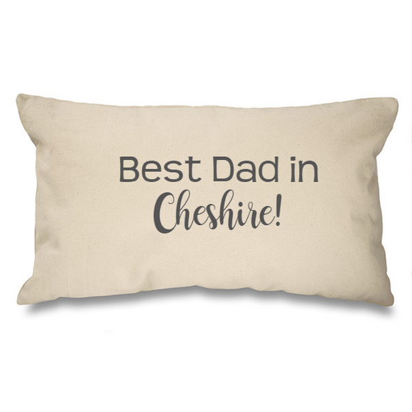 Best Dad in.... Bespoke Natural Long Cushion