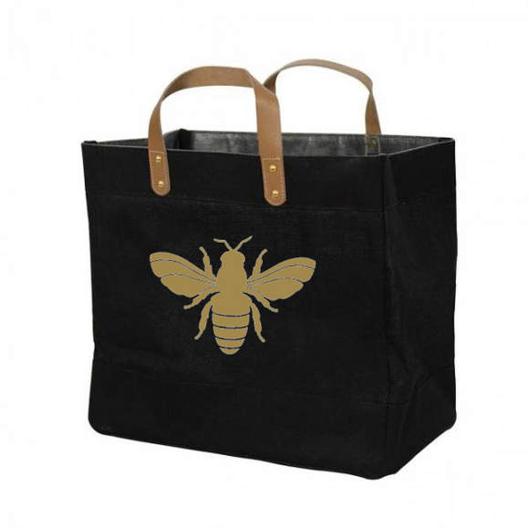 Bee Design. Luxury Jute & Leather Shoppers