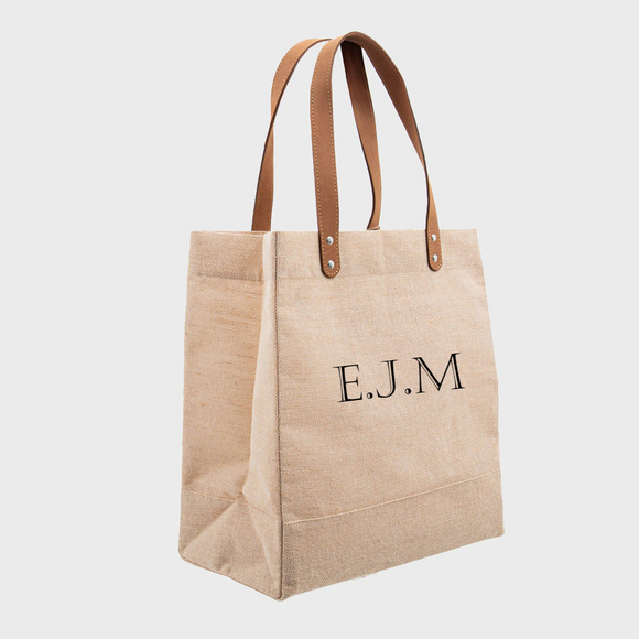Personalised Initials Luxury Natural Jute Shopper
