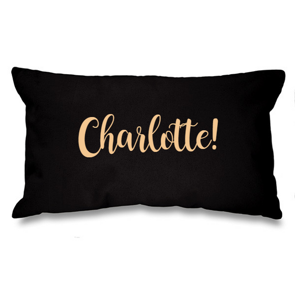 Personalised Name. Black Long Cushion