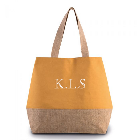 Personalised Monogram Cumin Yellow Canvas contrast Jute Shopper