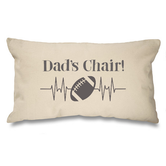Dad's Chair, rugby ball. Natural Long Cushion