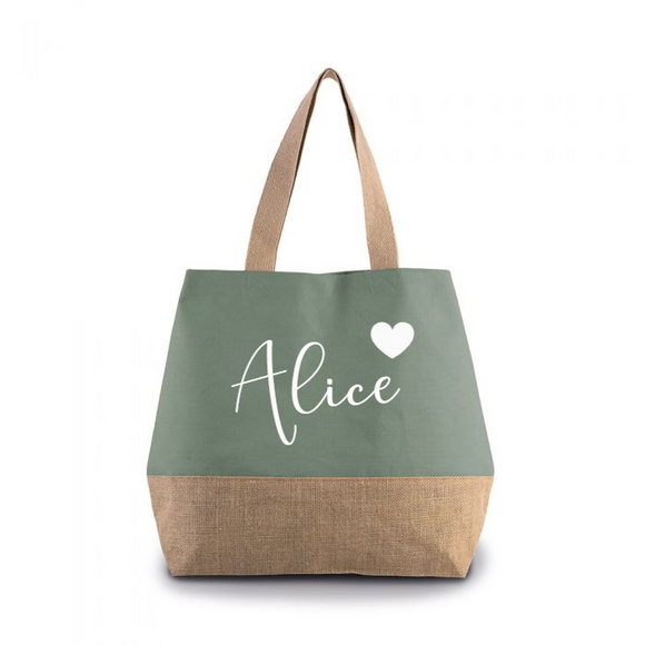 Personalised Dusty Green Canvas contrast Jute Shopper
