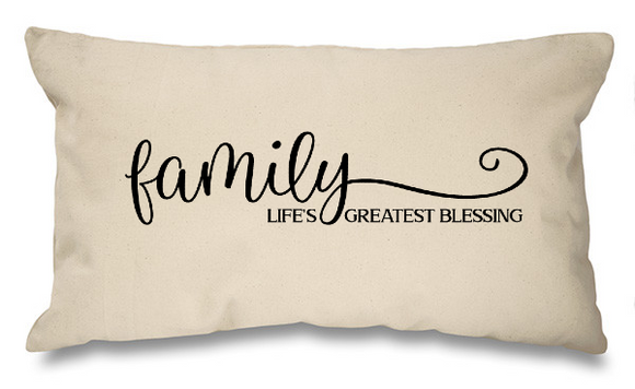 Family, greatest blessings. Natural Long Cushion