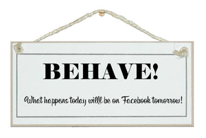 Behave...on facebook tomorrow!