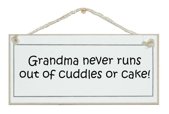 Grandma, cuddles and cake