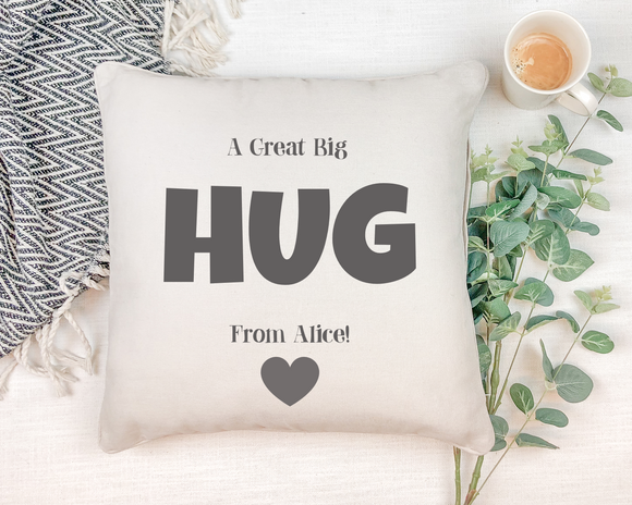 Personalised a great big Hug from...! Natural Square Cushion