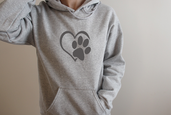 Heart and Paw Print. hoodie