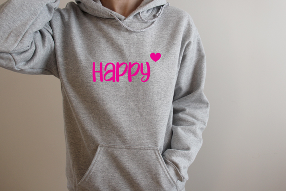 Grey and hot pink Hello hoodie