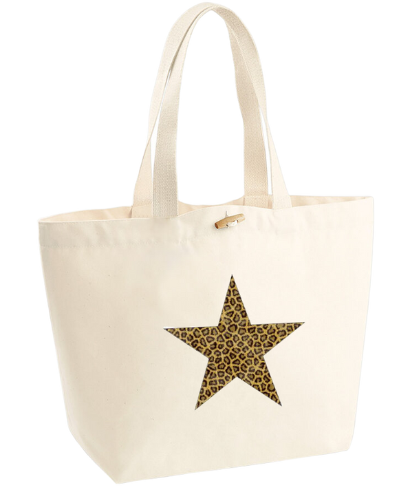 Leopard Print Star Design. Marina Bag