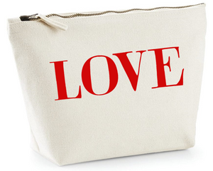 Big red LOVE. Natural Make Up Bag