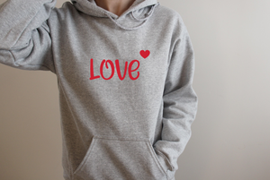 Grey and hot pink Love hoodie