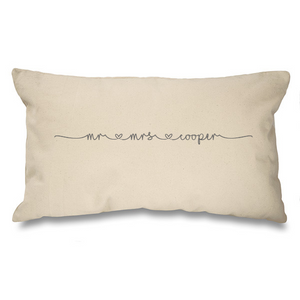 Mr and Mrs Personalised Natural Long Cushion