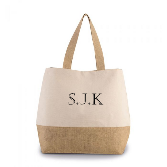 Personalised Monogram Natural Canvas contrast Jute Shopper