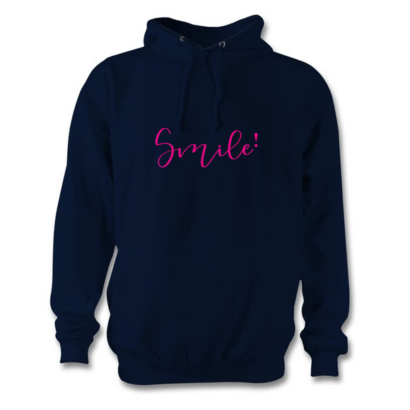 Navy and hot pink Smile hoodie