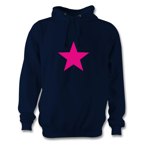 Navy and hot pink star hoodie