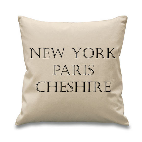 New York, Paris...Bespoke Natural Square Cushion