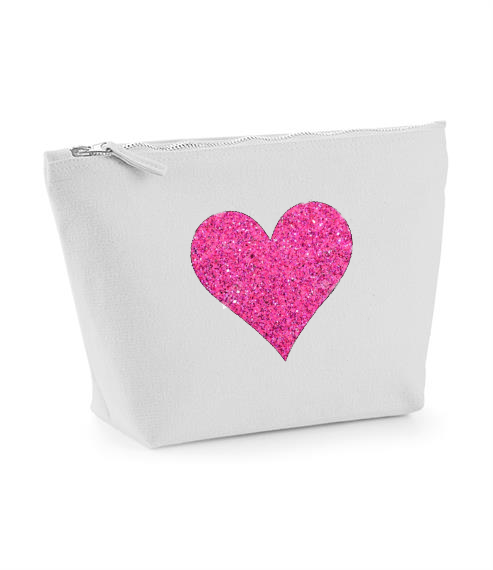 Heart design Grey make up bag