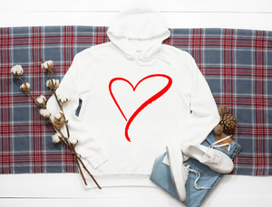 Red drawn heart. Hoodie