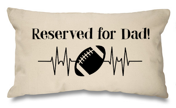 Reserved for Dad rugby ball. Natural Long Cushion