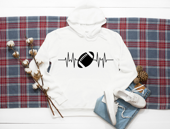 Rugby Ball Heart Line. hoodie