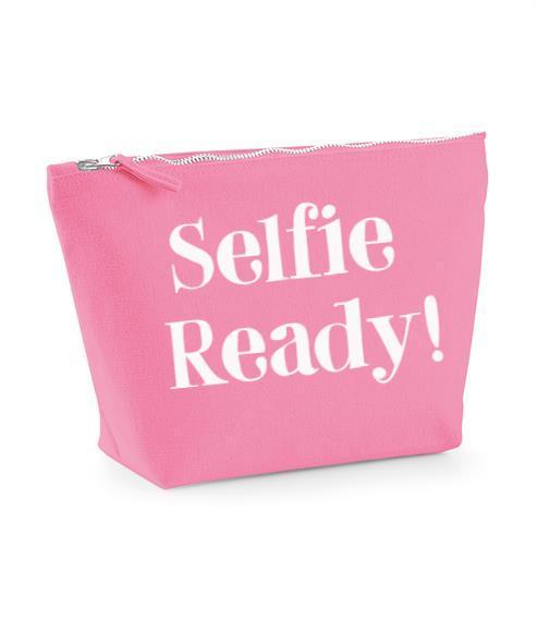Selfie ready. True Pink Make Up Bag