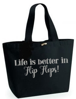 Life better in flip flops!Black Beach Bag