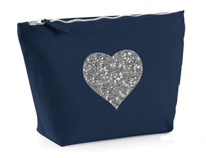 Heart Design Navy make up bag