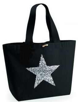Silver Glitter Star Design. Black Beach Bag